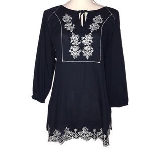 HANNAH | Navy Blue Embroidered Tunic sz M